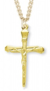 Men's 14kt Gold Over Sterling Silver Slimline Nail Crucifix Pendant + 24 Inch Gold Plated Endless Chain [HMR0490]
