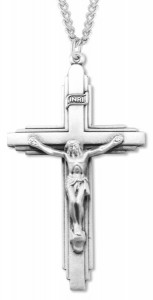 Men's Large Sterling Silver Crucifix Pendant [HMR0575]