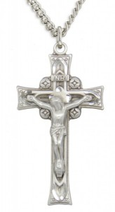 Men's Sterling Silver Celtic Crucifix Pendant with Chain Options [HMR0577]
