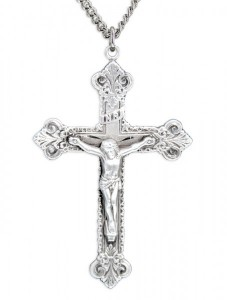 Men's Sterling Silver Budded Edge Crucifix Pendant with Chain Options [HMR0579]