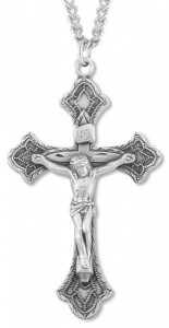 Men's Sterling Silver Budded Crucifix Necklace with Beaded Accents with Chain Options [HMR0627]