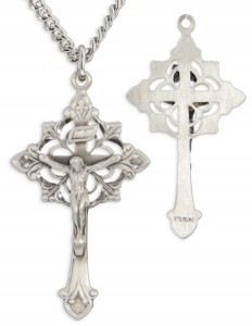 Men's Sterling Silver Fancy Crucifix Necklace Fleur-de-lis Points with Chain Options [HMR0665]