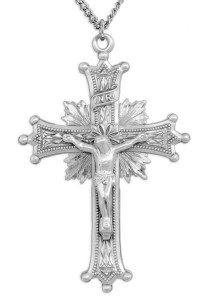 Men's Sterling Silver Starburst Crucifix Necklace Beaded Tips with Chain Options [HMR0804]