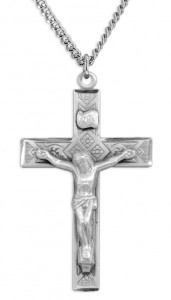 Men's Large Sterling Silver Diamond Etched Crucifix Necklace with Chain Options [HMR0820]