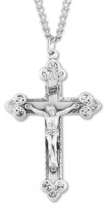 Men's Large Sterling Silver Elegant Tip Crucifix Necklace with Chain [HMR0824]