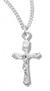 Women's Petite Sterling Silver Crucifix Necklace with Chain Options [HMR1039]