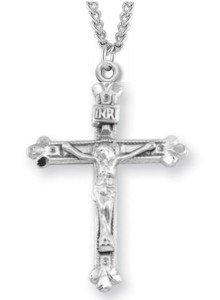 Women's or Boy's Crucifix Necklace with Beaded Border, Sterling Silver with Chain [HMR1036]