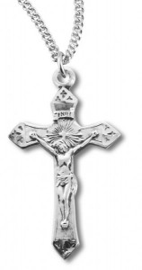 Women's Sterling Silver Etched Cross Tip Crucifix Necklace with Chain Options [HMR0811]