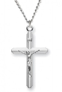 Crucifix with Cross on Cross Necklace, Sterling Silver with Chain [HMR1025]