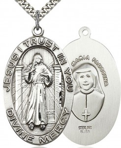 Divine Mercy Medal, Sterling Silver [BL6541]