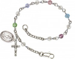 First Communion Silver Plated Charm Bracelet with 4mm Multi-Colored Swarovski Crystals [BCB1004]