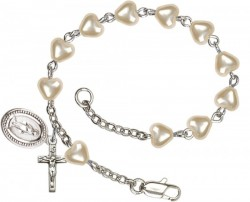 First Communion Silver Plated Charm Bracelet with 5mm Heart Shaped Faux Pearl Beads [BCB1002]