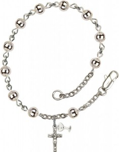 First Communion Silver Plated Charm Bracelet with 5mm Round Silver Beads [BCB1001]