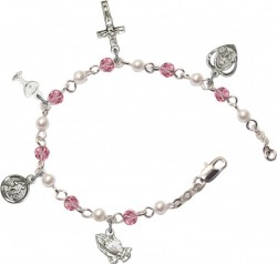 First Communion Silver Plated Charm Bracelet with Pink Swarovski Crystals and Faux Pearl Beads [BCB1003]