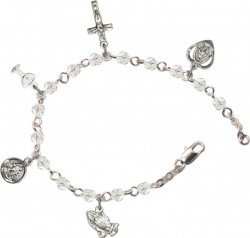 First Communion Silver Plated Charm Bracelet with Swarovski Crystals [BCB1000]