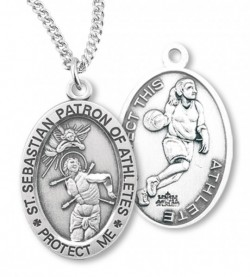 Girl's Oval Double-Sided Basketball Necklace with Saint Sebastian Back in Sterling Silver [HMS1124]