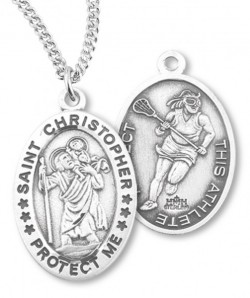 Girl's Oval Double-Sided Lacrosse Necklace with Saint Christopher in Sterling Silver [HMS1120]