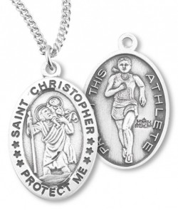 Girl's Oval Double-Sided Track Necklace with Saint Christopher in Sterling Silver [HMS1118]