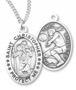 Girl's Oval Double-Sided Volleyball Necklace with Saint Christopher in Sterling Silver [HMS1121]