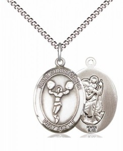 Girl's Pewter Oval St. Christopher Cheerleading Medal [BLPW570]