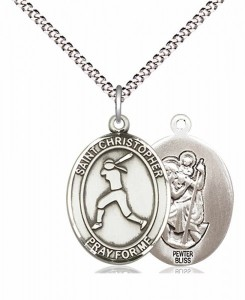 Girl's Pewter Oval St. Christopher Softball Medal [BLPW574]