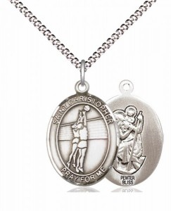 Girl's Pewter Oval St. Christopher Volleyball Medal [BLPW568]