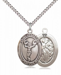 Girl's Pewter Oval St. Sebastian Cheerleading Medal [BLPW595]
