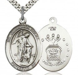 Guardian Angel Air Force Medal, Sterling Silver, Large [BL0070]