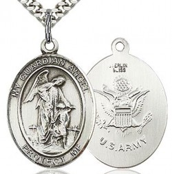 Guardian Angel Army Medal, Sterling Silver, Large [BL0079]