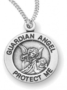 Woman's Guardian Angel Necklace Round, Sterling Silver with Chain Options [HMR0747]
