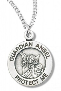 Women's Sterling Silver Round Guardian Angel Necklace with Chain Options [HMR0744]
