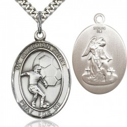 Guardian Angel Soccer Medal, Sterling Silver, Large [BL0163]