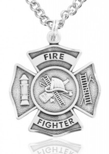 Heartland Men's Sterling Silver Firefighter Philippians 4:13 Medal with Cross [SSM0003]