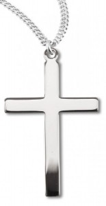 Women's or Boy's High Polish Cross Necklace Plain Sterling Silver with Chain [HMR0778]