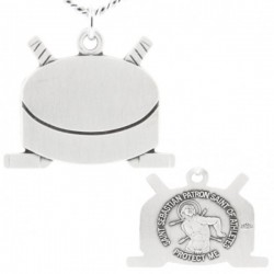 Hockey Themed Stick and Puck Necklace with Saint Sebastian Back in Sterling Silver [HMS1103]