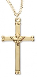 Women's 14kt Gold Over Sterling Silver Cross Necklace Dove Center Cross + 18 Inch Gold Plated Chain & Clasp [HMR0440]