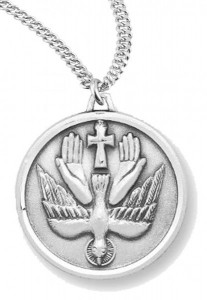 Women's or Boy's Holy Spirit Necklace Round, Sterling Silver with Chain [HMR0953]