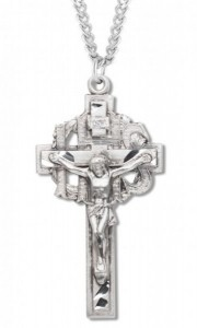 Men's Sterling Silver IHS Crucifix Necklace with Chain Options [HMR1037]