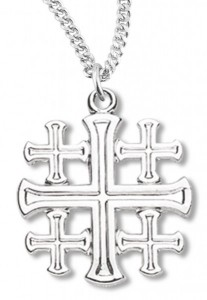 Women's Jerusalem Cross Necklace, Sterling Silver with Chain Options [HMR0839]