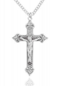 Large Men's Sterling Silver Antiqued Crucifix Necklace [HMR0770]