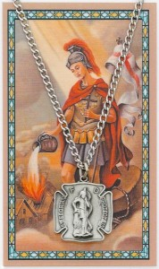 Large St. Florian Pewter Medal with Prayer Card [MPC0101LG]