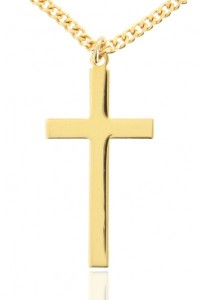 Men's High Polish Classic Plain 16k Gold Plated Cross Necklace [HMG0010]