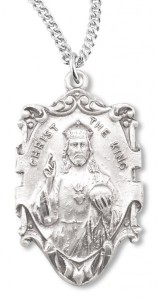 Men's Christ the King Necklace, Sterling Silver with Chain Options [HMR0648]