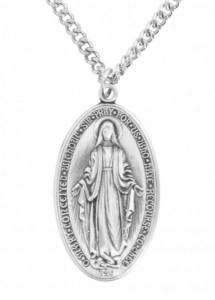 Large Men's Deluxe Sterling Silver Oval Miraculous Medal [HMSS2113]