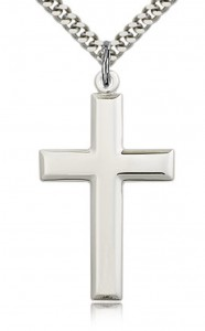 Men's High Polish Sterling Silver Cross Pendant [BL5383]