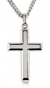 Men's High Polish Sterling Silver Cross Pendant [BL8000]