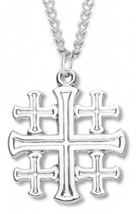 Men's Jerusalem Cross Necklace, Sterling Silver with Chain Options [HMR0840]
