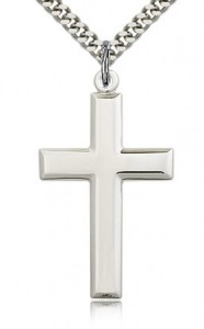 Men's Luxury High Polish All Sterling Silver Cross Pendant [BL7080]