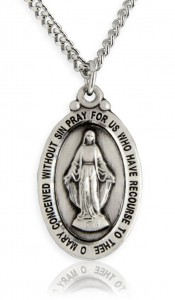 Men's Miraculous Medal, Sterling Silver [BL5929]