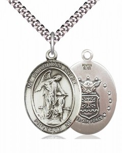 Men's Pewter Oval Guardian Angel Air Force Medal [BLPW144]